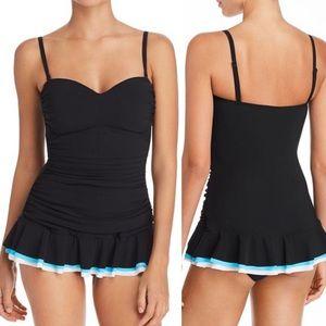 Profile by Gottex Black Turquoise Peplum Swimdress